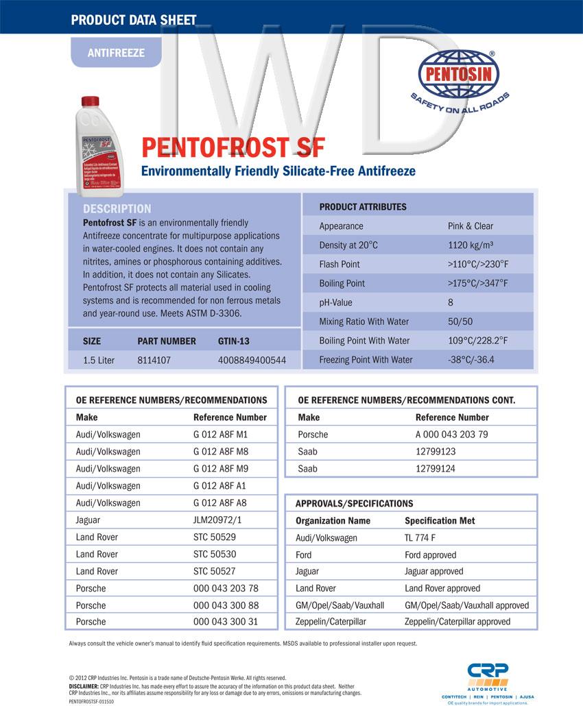 Vw Audi Genuine Pentosin Sf G12 Coolant Antifreeze 2 1 5