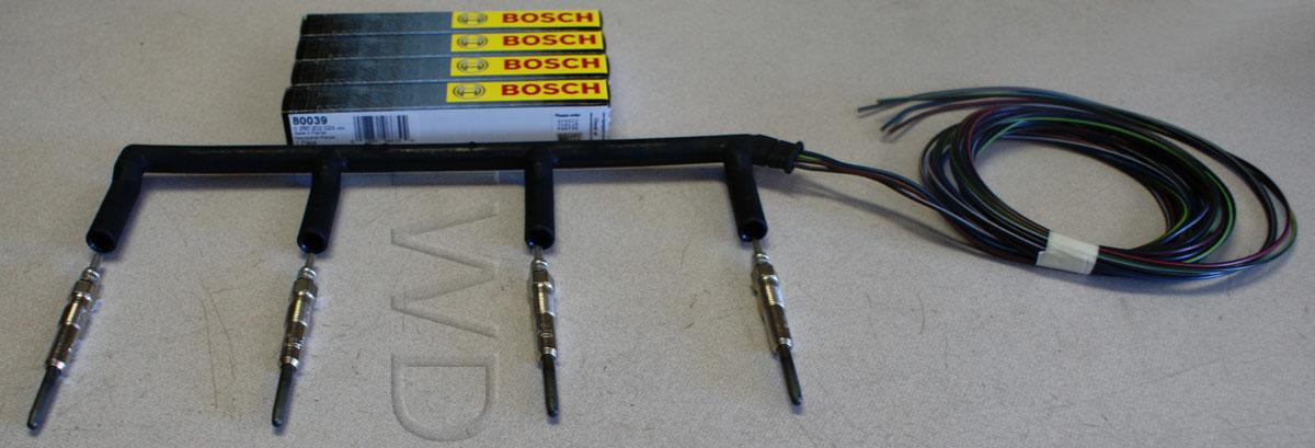 Vw Tdi Oem Glow Plug Harness W   Bosch Glow Plugs Fits 2004