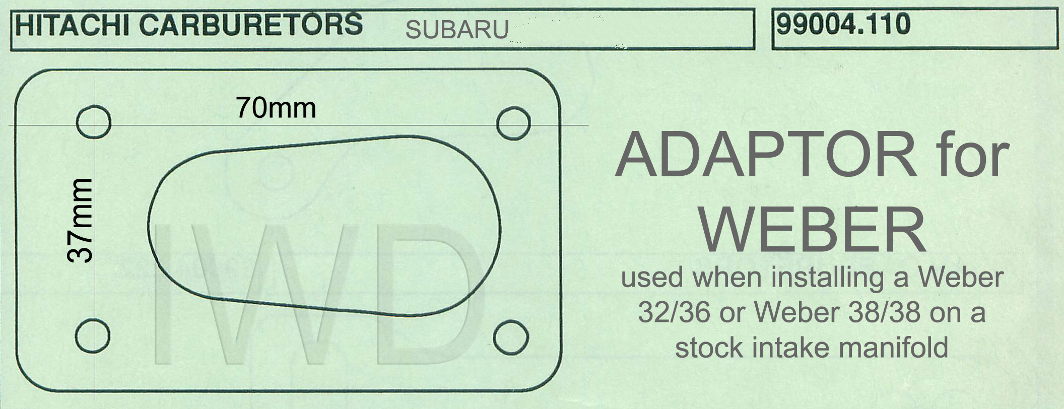 Adapter Plate For Installing Weber Carb Subaru Ea81 Ohv 1600 1800 Wiring Diagram Click Pictures To Enlarge