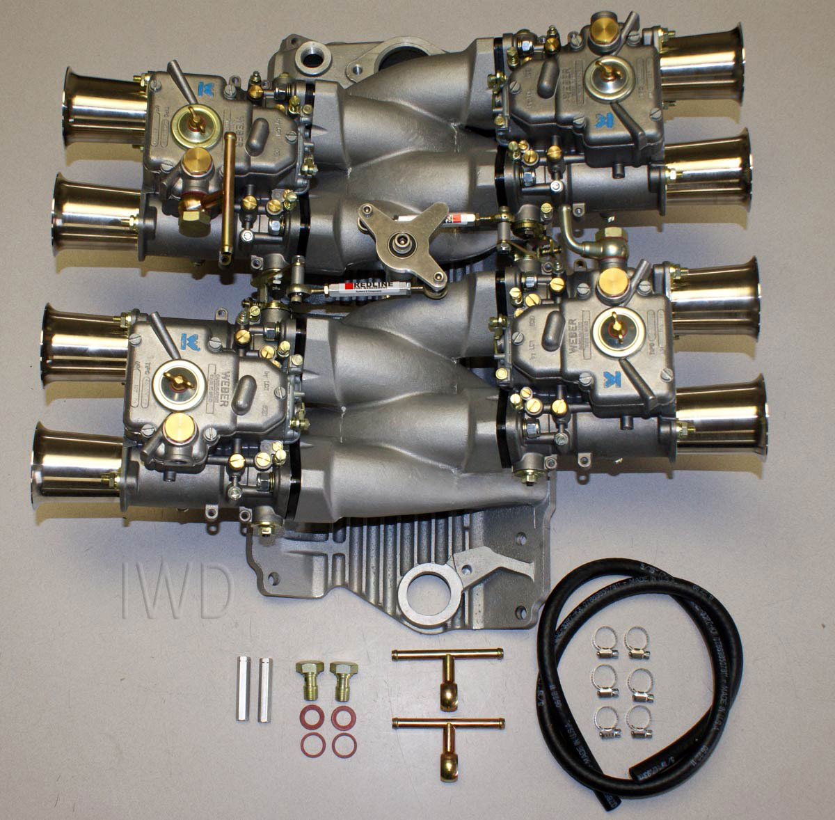 Small Block Chevy 45 DCOE Weber Kit W/manifold, Linkage, 4